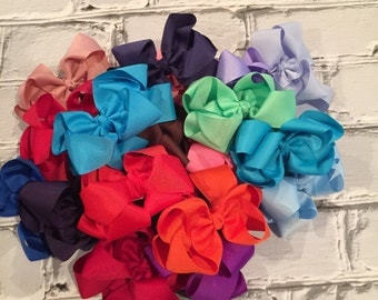 "Boutique Baby Girl Hair Bow Clip attached to alligator clip. Pick 1 colors. 5"" Hairbows Hair Clips"