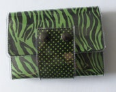 Petite Wallet - Green and Black Zebra/Walla Wallat, small wallet, African, polka dots, jungle, card/cash/ID case, vinyl wallet, snap wallet