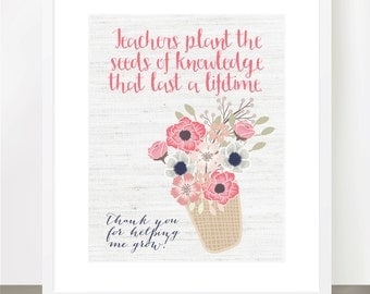Teachers Plant Seed of Knowledge, Thank You, Shabby, Print,Teacher Appreciation, Class Gift, End of year, Teacher Gift, Personalized, 8x10