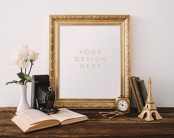 Gold Frame with Vintage Camera Paris Skeleton Keys, Stock Photography, Product / Frame Mockup Frame Mock Up, Wall Art Display Template