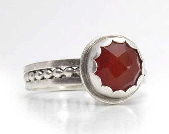 Metalsmith ring, Sterling silver carnelian ring, renaissance ring