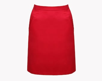 SALE Red skirt, red midi skirt, red pencil skirt, A line skirt, A line midi skirt, summer skirt, knee length skirt, short skirt