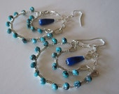 Turquoise and Lapis Lazuli Wire Wrap Hoop Earrings in Sterling Silver