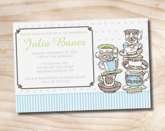 Sip 'N See Tea Bridal Shower invitation - Printable Digital file or Printed Invitations