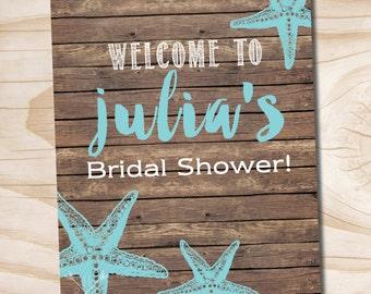 Wooden Plank Turquoise Starfish Beach wood Welcome Sign 8x10 - Printable File
