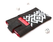 OnePlus 3, OnePlus 2, OnePlus X, OnePlus One sleeve case cover pouch with magnetic closure dark jeans and red with pocket white ornament