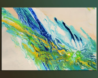 Abstract acrylic Original Painting Canvas Modern design fluid liquid blue yellow teal unique art ready to hang home office decor by Milen