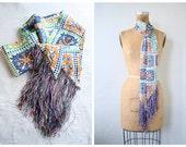 vintage 1960s sash - long neck scarf / Tangerine Orange - rainbow fringe / bohemian belt - 60s