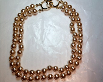 Vintage Glass Pearl Necklace Wedding Bridal Jewelry Champagne
