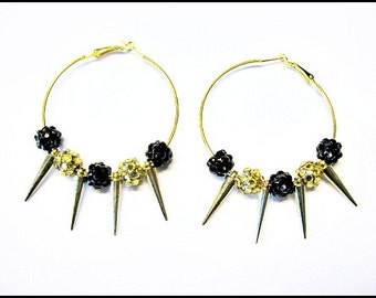 Black And Gold Sparkle Bead Spike Gold Hoop Earrings