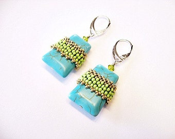 Ladder Turquoise Beaded In Green and Gold Earrings