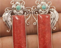 Jewelry With Soul Natural Red Coral Turquoise 925 Sterling Silver Earrings EA301 E1049