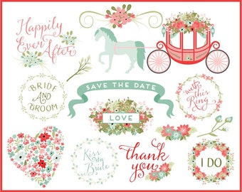 Wedding Words Clip Art | Wedding Carriage Graphics | Spring Flower Clip Art | Horse and Carriage | Ribbon Clip Art | Digital Overlay