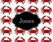 Monogrammed Laminated Placemat  CRABS