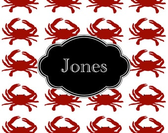 Personalized Placemats, Monogrammed Placemats, Laminated Placemats, Design your Own Placemat, Kids Placemat, Pet Placemat, Custom,  CRABS