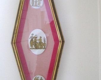 Mid Century Wall Decor Andrew Kolb and Son Ltd. Gold Gilt Frame Pink Matting Porcelain Greek Figurine Disks
