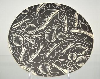 Dark Botanical Ceramic Plate Wall Hanging