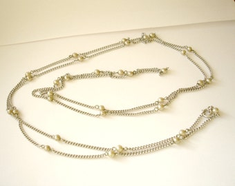 Faux pearl linked beads bead long art deco style necklace