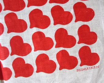 Reinleinen. MWT Polish Reinleinen linen kitchen towels / hearts red / unused / single or multiple