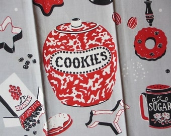 Kendall cookies. Vtg midcentury kitchen towel / kitchen cooking cookies / gray red / very good condition