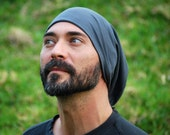 Men's Slouchy Hat - Boho - Organic Cotton Soy Spandex French Terry - Organic Clothing  -  Gray - Eco Friendly