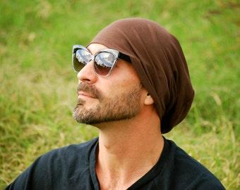Men's Hat - Unisex Hat - Slouchy - Beanie - Chocolate Brown - Eco Friendly  Jersey - Organic Clothing - Boyfriend Gift