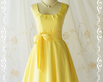 Yellow dress yellow vintage dress yellow sundress summer dress yellow party dress yellow bridesmaid dresses lemom yellow dress