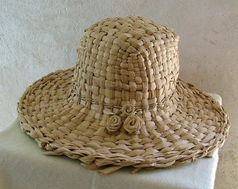 Hand woven straw hat - wide brim Summer hat , sun hat , cattail straw, handcrafted sun hat.