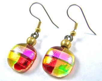 """Dichroic Earrings Ruby Red Gold Amber - Copper Orange Pink Magenta Rock Drop Dangle Surgical Steel French Wire - Fused Glass - 3/4"""""""