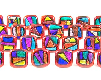 """Dichroic Knobs - Set of 10 - Cabinet or Drawer Pull Handle - 1"""" / 25mm - Red Blue Gold Copper Green- Custom Made Fused Glass"""