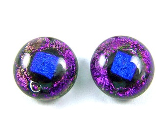 "Dichroic Earrings - 1/2"" 12mm - Violet Purple Amethyst & Cobalt Blue Dot Fused Glass - Post or Clip-On"