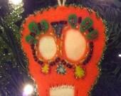 Orange Sugar Skull Ornament