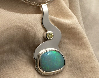 Opal & Yellow Diamond Pendant Necklace in Sterling Silver - Green Fire