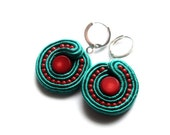 orient - soutache mini earrings - coral and turquoise -  free  shipping