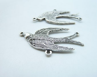 8pcs 20x37mm Antique Silver Lovely Swallow  Bird Charm Pendant Connector Link c4860