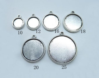 10mm,12mm,16mm,18mm,20mm,25mm Antique Silver Round Double Side Cameo Cabochon Base Settings Collection (double side)