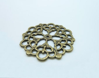 10pcs 30mm Antique Bronze  Round Filigree Flower Charms Pendant c448