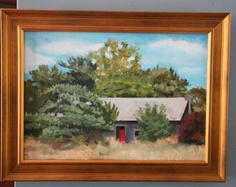 Framed original art oil painting Barn