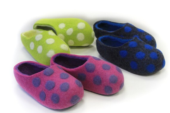 Hand Felted Wool Slippers in Pink, Green, Gray with Polka Dots. MADE TO ORDER.