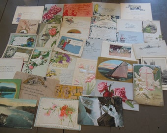 Vintage Postcards, Easter, Calling Cards for ScrapBooking & Crafts, Lot of 33 Pieces