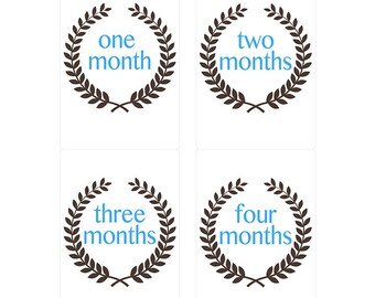Monthly Baby Milestone Stickers Custom Laurel Wreath Motif Gender Neutral