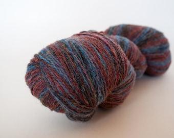 KAUNI Wool Yarn, 2ply, 8/2,  Blue (denim), Rosy Brown, Light Slate Grey, Fingering Sock yarn, Self-Striping
