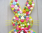 Button Easter Bunny, Easter Decoration, Spring Decor, Baby Decor, Button Wall Art, Bunny Rabbit Wall Decor, Childs Room, Button Wall Hanging