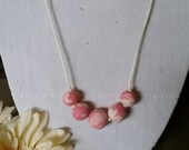 Pink Marbled Bead Necklace