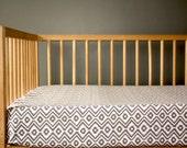 GRAY GEOMETRIC - crib sheet - geometric gender neutral nursery - crib fitted sheet-  changing pad cover