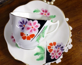 Vintage Rosina, China Teacup, Tea Cup and Saucer, English Bone China, Teacup Set 12011