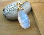SALE!  Rainbow Moonstone Necklace, Yellow Gold Necklace, Moonstone Briolette - 20% OFF
