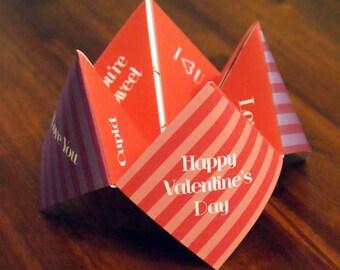 Kids Valentine Card, Cootie Catcher, Valentine, Valentines Day, DIY Valentine, Printable Valentine, Childrens Valentine, Unique Valentine