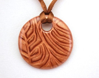 Brown Mica Shift Polymer Clay Pendant