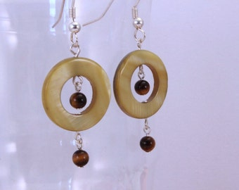 Green Shell Donut Earrings with Brown Tigers Eye Accents
